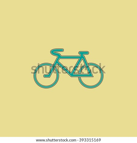 Mountain bike Flat line icon on yellow background. Vector pictogram with stroke - stock vector