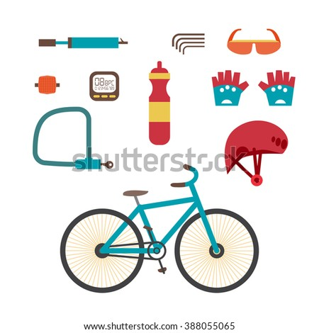 Mountain bike kit. Set riding bikes isolated on white background. Set of equipment for cycling on Mountain bike. Vector set infographic flat design element