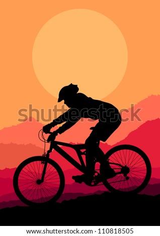 Mountain bike rider in wild mountain nature landscape background illustration vector - stock vector