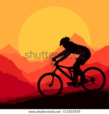 Mountain bike rider in wild mountain nature landscape background ...