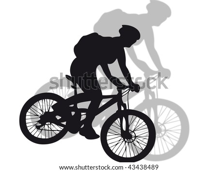 Mountain bike silhouette with shadow on the background