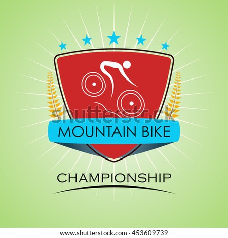 Mountain Bike - Winner Golden Laurel Seal  - Layered EPS 10 Vector - stock vector