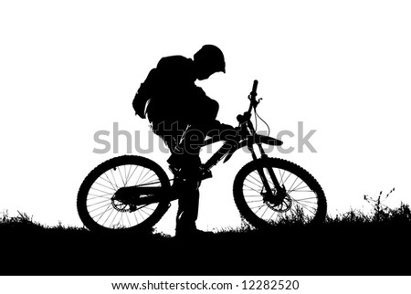 mountain biker (detailed vector eps format) - stock vector