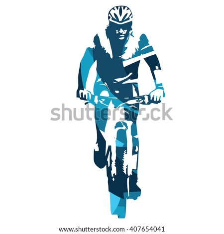 Mountain biker front view, MTB. Abstract blue vector illustration