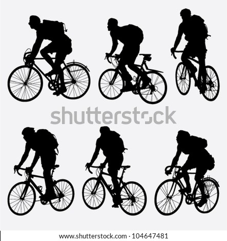 mountain bikers silhouette. vector illustration - stock vector