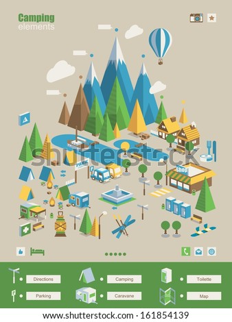 mountain & camping info elements - stock vector