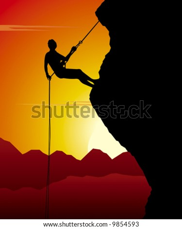 Mountain climber in action while sunset. - stock vector