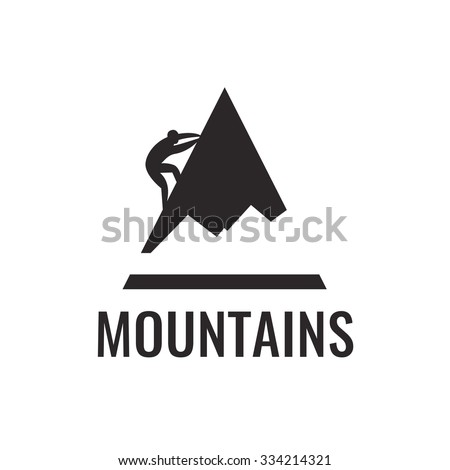 Mountain climber. Vector icon. - stock vector