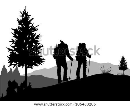 Mountain Climbing - stock vector