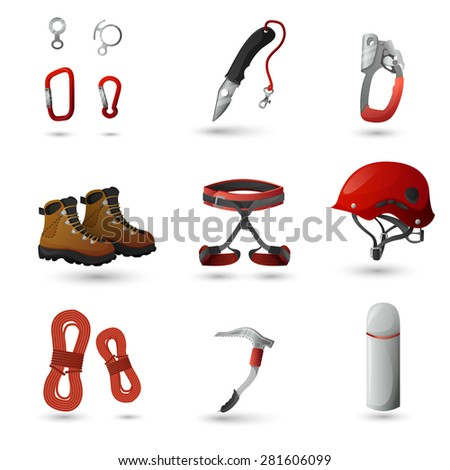 Mountain climbing equipment tools and accessories icons set with ice axe and harness abstract isolated vector illustration - stock vector