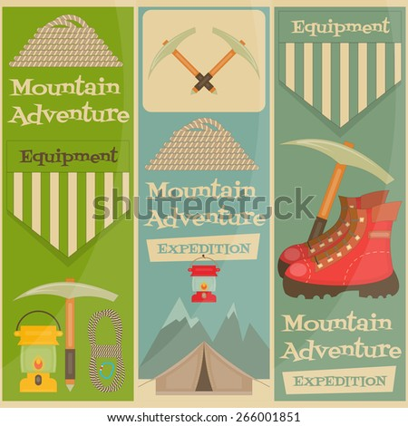 Mountain Climbing Placard Collection in Retro Design. Camping and Hiking Elements. Vector Illustration. - stock vector