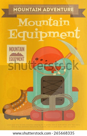 Mountain Climbing Poster in Retro Style. Camping and Hiking Elements. Vector Illustration. - stock vector
