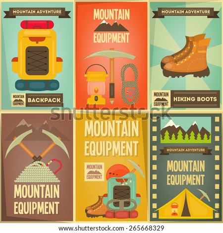 Mountain Climbing Posters Collection. Camping and Hiking Elements. Vector Illustration. - stock vector