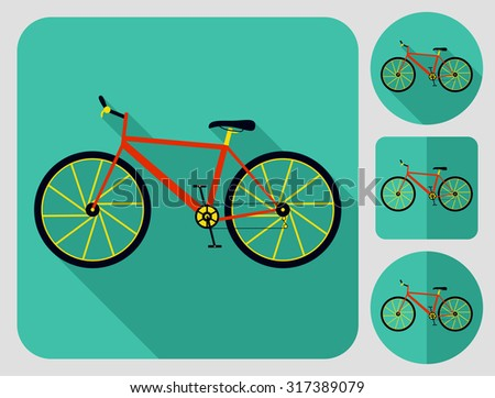 Mountain (cross country) bike icon, parts. Flat long shadow design. Bicycle icons series. - stock vector