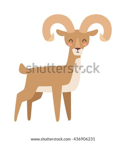 Mountain deer wildlife male nation animal vector illustration. Bull elk with large antlers standing edge forest, calling mountain deer. Mountain deer forest wilderness environment animal. - stock vector