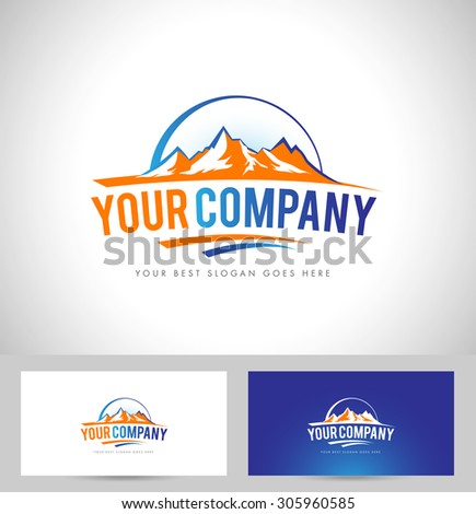 Mountain Design Creative vector icon with snow peaks and business card template - stock vector