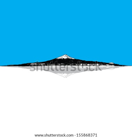 mountain Fuji Japan Hand Drawn - stock vector