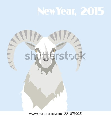 Mountain goat isolated on blue background. New Year poster. - stock vector