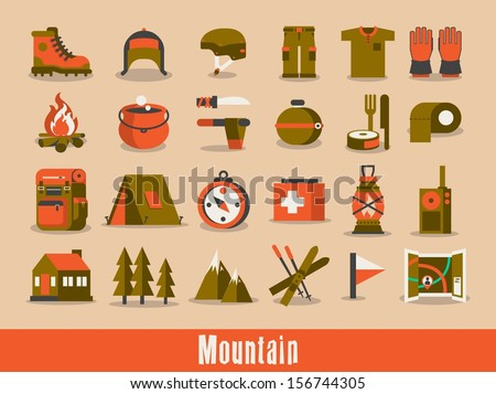mountain & hiking vector set - stock vector