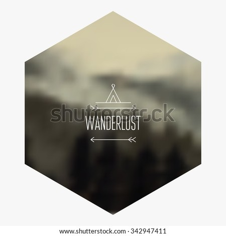 Mountain hipster background. Vector blurred landscape. - stock vector