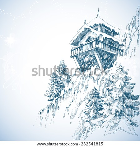 Mountain hut, pine tree forest, winter landscape - stock vector