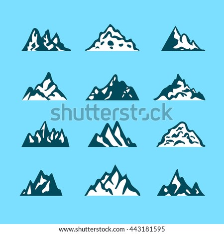Mountain icon brush hand made stroke ink design element silhouette
