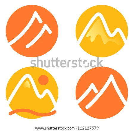 Mountain icons set isolated on white ( orange and yellow ) - stock vector