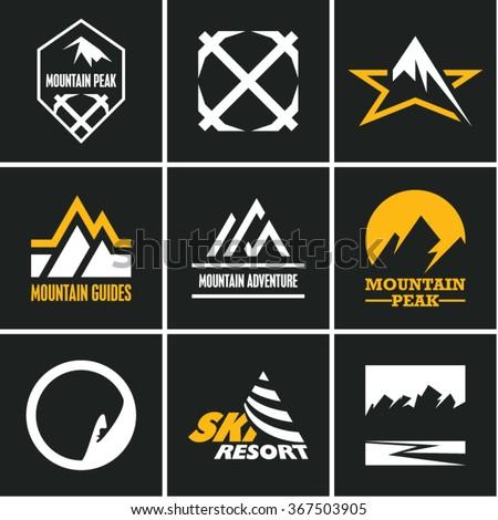 Mountain icons set. Mountain climbing. Climber. Ski Resort labels. - stock vector