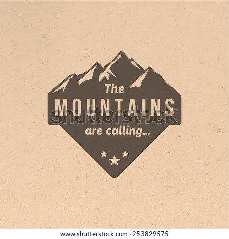 Mountain label with type design in vintage style - stock vector