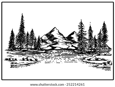Mountain lake forest pine trees rock vector illustration - stock vector