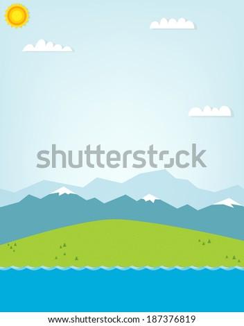 mountain landscape. cutout illustration - stock vector