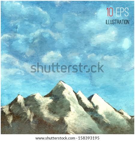 Mountain landscape. Illustration - stock vector