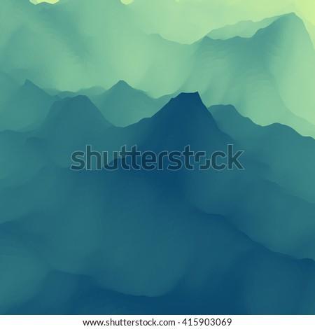Mountain Landscape. Mountainous Terrain. Vector Backgrounds. - stock vector