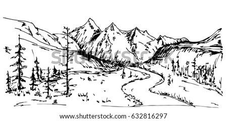 Mountain Landscape Sketch Black White Dashed Stock Vector