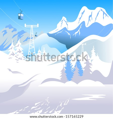Mountain landscape. The ski resort in the high snowy - stock vector