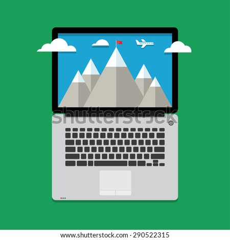 mountain landscape with clouds and aircraft - stock vector