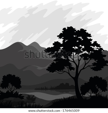 Mountain landscape with pine tree and lake, silhouettes. Vector - stock vector