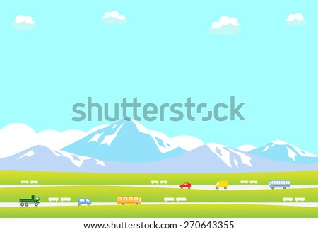 Mountain landscape with road and moving car - stock vector