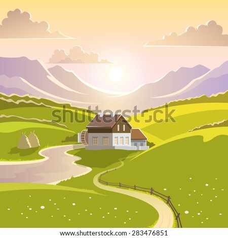 Mountain landscape with summer sun green meadow and country house vector illustration - stock vector