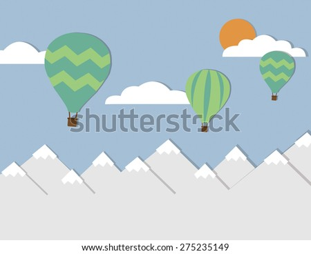 Mountain landscape with sun, clouds, and hot air balloons - stock vector