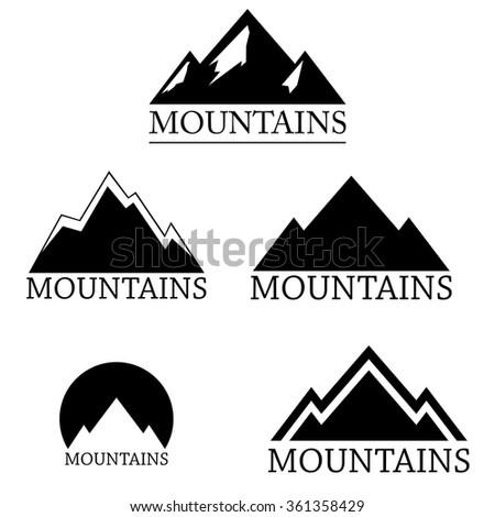 Mountain logo set isolated on white background, vector illustration - stock vector