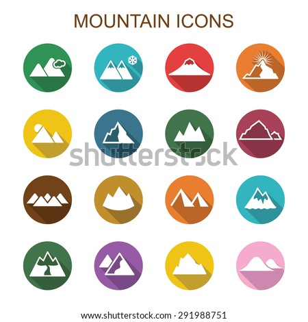 mountain long shadow icons, flat vector symbols - stock vector