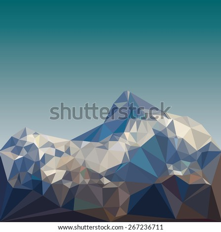 Mountain low poly vector - stock vector