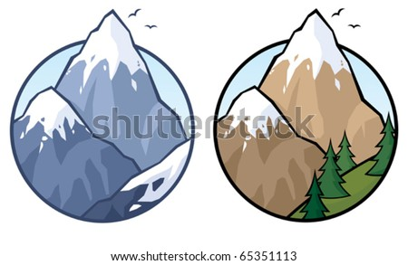 Mountain: Mountain in 2 versions. No transparency used. Basic (linear) gradient used for the sky. - stock vector