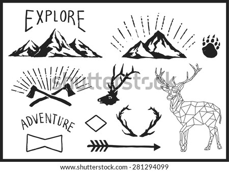 Mountain Nature Animal vector illustration page - stock vector