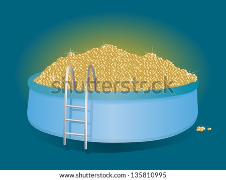 Mountain of gold coins in the inflatable pool - stock vector