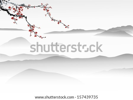 mountain painting - stock vector