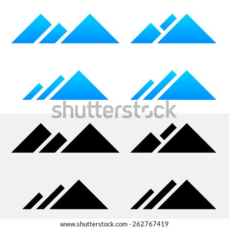 Mountain Peak Symbols - stock vector