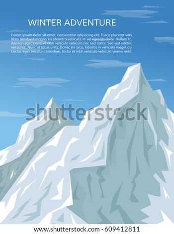 Mountain peaks and sky landscape. Mountaineering or travelling background, winter adventure concept. Climbing, hiking, trekking, outdoor vacation or extreme sports banner. EPS10 vector illustration.