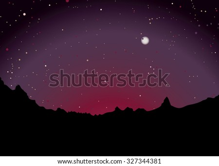mountain range skyline with sunset and stars - stock vector